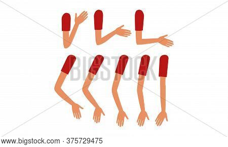 Human Sleeved Arms In Various Poses Set, Male Or Female Body Part, Constructor For Animation Cartoon