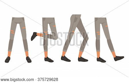 Human Legs In Ripped Jeans And Shoes In Various Poses Set, Male Or Female Body Part, Constructor For