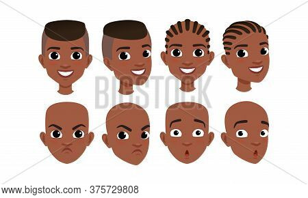 Male Heads Set, Face Of African American Boy With Various Hairstyles, Frontal, Profile, Three Quarte