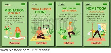 Set Of 4 Mobile App Page Templates. Mobile Version Of The Home Yoga And Pilates Site. Girls In Track