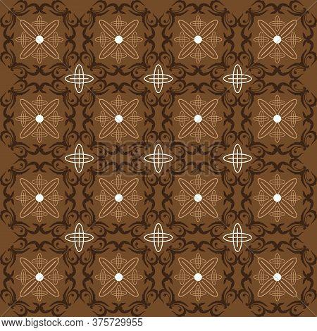 Unique Circle Design On Jogja Batik With Modern Dark Brown Color