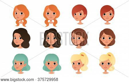 Heads Of Cute Girls Set, Pretty Female Characters With Various Hairstyles Cartoon Style Vector Illus