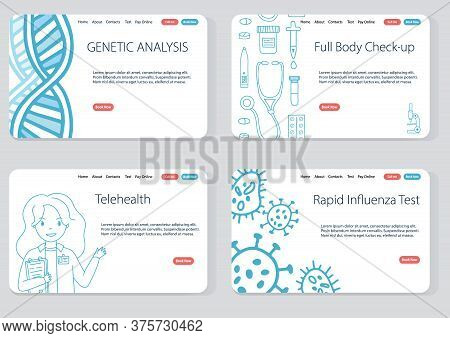 Doodle Website Template Set For Online And Offline Medical Services. Genetic Analysis, Full Body Che