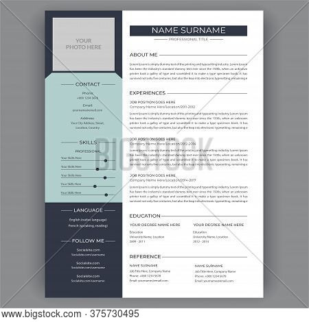 Resume Template. Stylish Modern Business Corporate Creative Resume Vector Infographic Illustration V