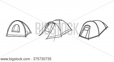 Set Of Tourist Tents. Field Equipment. Tent For Hiking, Travel, Recreation And Mountaineering. Vecto