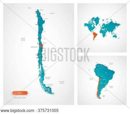 Editable Template Of Map Of Chile With Marks. Chile On World Map And On South America Map.