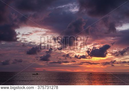 Beautiful Vivid Sunset At Paradise Beach Borneo Malaysia
