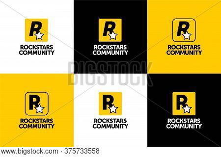 We Are Rockstar Community Logo Design. For Your Businness, Print And Logotype. Vector Icon Letter R