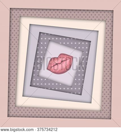 Abstract Beige Colored Image Of Lips And Frames