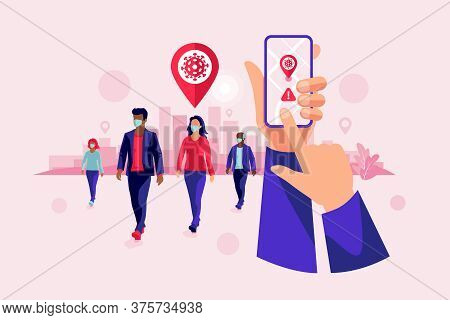 Smartphone Health Covid Tracking Location App With People Wearing Protection Face Mask To Prevent Co