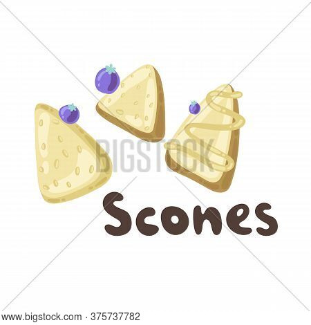 Homemade Blueberry Scones. Traditional English Tea Treats. Doodle Scone Or Biscuit With Raisins And