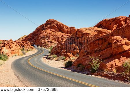 Winding road through Valley of Fire State Park, Clark County, Nevada, United States