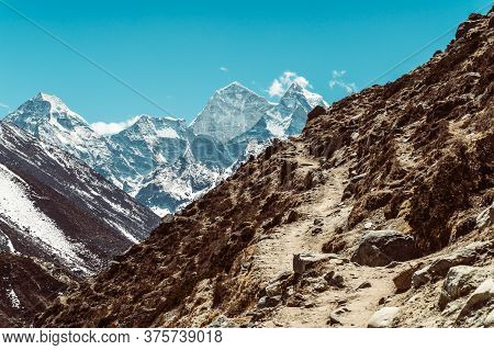 Beautifull Mountains Landscape At The Everest Base Camp Trek In The Himalaya, Nepal. Himalaya Landsc