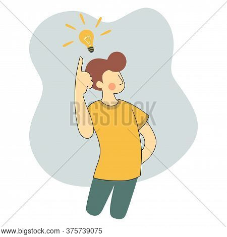 Man Standing Thinking Get Idea. A Light Bulb Shining On It. Young Man Looking Up On Empty Or Blank.f