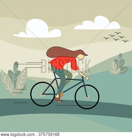 Woman Riding Bike. Cute Sportswoman On Bicycle Isolated On White Background. Female Bicyclist Taking