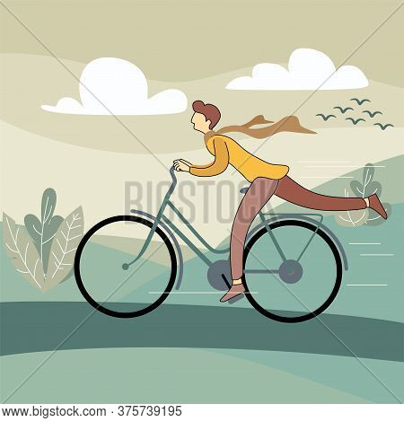 Fun Man On Bike. Young Adult Happy Cycle Riding. Vector Character Riding On Bicycle, Like Summer Lif