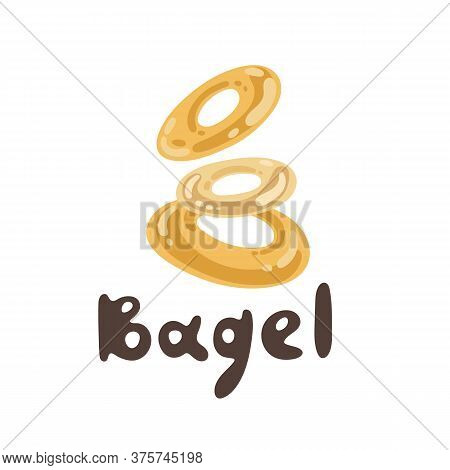 Vector Illustration Of Turkish Bagel. A Bunch Of Bagels On A White Background. Aromatic Bagel Simit.