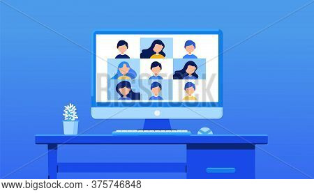 Video Conference For Training. E-learning, Online Meeting, Work From Home Concept On Blue Background