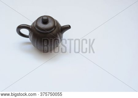 A Ceramic Kettle, Close View, White Background