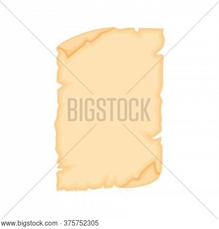 Parchment Old Papper Sheet Vector Illustration Isolated On White Background.