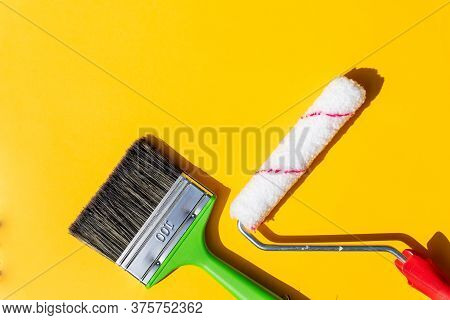 Painting Tools. Brushes And Roller.painting Supplies Paint Roller And Brush In The Accessories For H