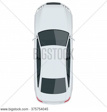 View From Above Sedan Vehicle Template Vector Isolated On White Change The Color In One Click.