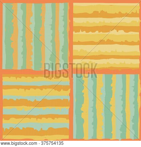 Vector Geometric Painterly Stripe Mosaic Tiles Seamless Pattern Background. Tropical Backdrop With C