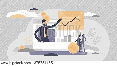 Financial Adviser With Money Planning Consultation Flat Tiny Person Concept. Economical Management A