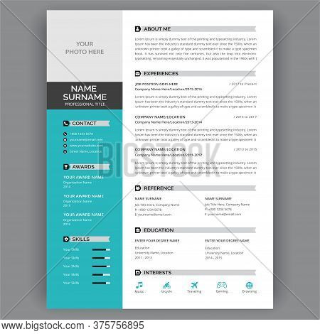 Job Resume, Cv Template Layout - Flat Resume Infographic Design - Stylish Dark Gray And Blue Design