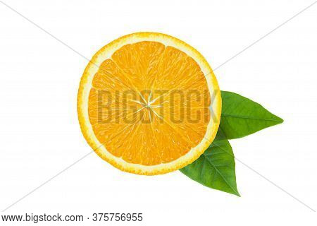 Orange Fruit. Round Orang Slice Isolate On White Background. Top View, Flat Lay.