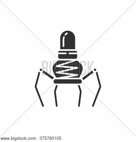 Nano Robot Black Glyph Icon. Medical Device. Bioengineering. Innovation In Technology. Sign For Web