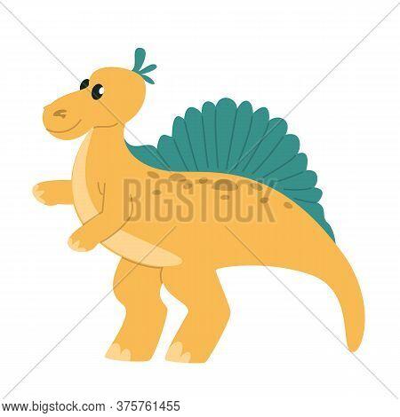 Cute Little Funny Baby Stegosaurus Vector Isolated