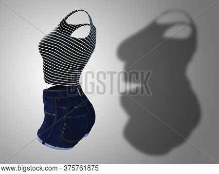Conceptual fat overweight obese shadow female clothes outfit vs slim fit healthy body after weight loss or diet thin young woman on gray. A fitness, nutrition or obesity health shape 3D illustration