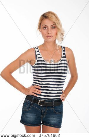Portrait Of A Beautiful Fashion Girl In A Striped T-shirt Isolated Over