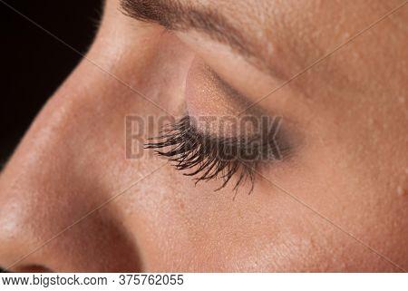 Close Up Of Woman's Eyes With Eyelashes