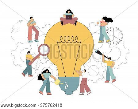 Search For New Solutions. Flat People Look At A Lamp, An Idea. Develop, Seek An Idea. Vector Illustr