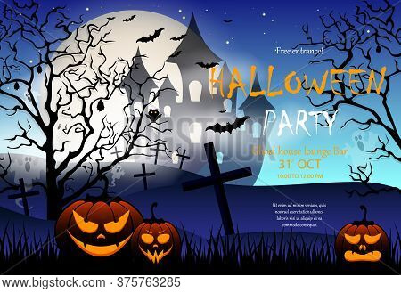 Halloween Party Invitation With Scary Pumpkin, Scary Castle In The Background And A Full Moon, An Ab