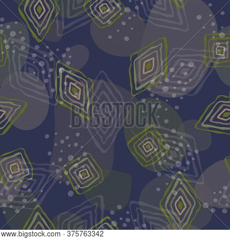 Vector Diamonds And Squares In Green Brown Scattered On Multicolored Background Seamless Repeat Patt