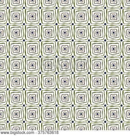 Vector Nested Square Outlines In Blue Green Brown On White Background Seamless Repeat Pattern. Backg
