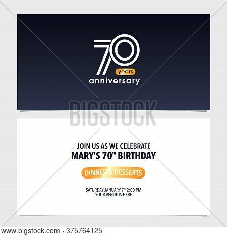 70 Years Anniversary Invitation Card Vector Illustration. Double Sided Modern Graphic Design Templat
