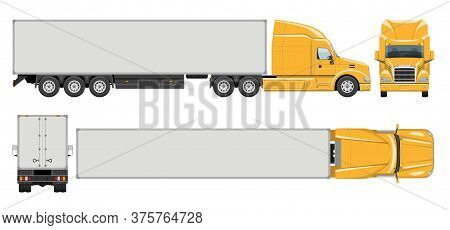 Semi Trailer Truck Vector Template With Simple Colors Without Gradients And Effects. View From Side,