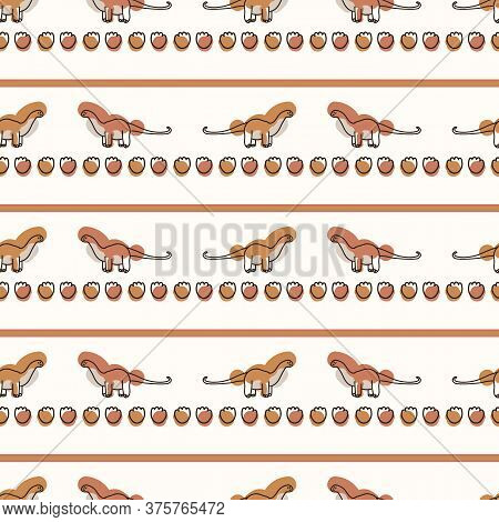 Seamless Background Apatosaurus Dinosaur Stripe Gender Neutral Pattern. Whimsical Minimal Earthy 2 T