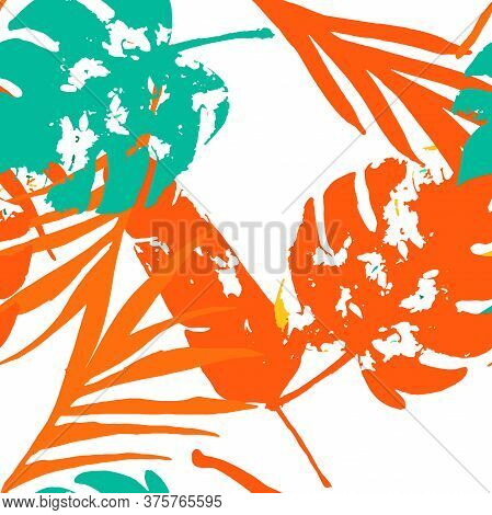 Palm, Banana Leaves Vector Seamless Pattern, Orange Green Vivid Exotic Floral Fabric Design.  Bohemi