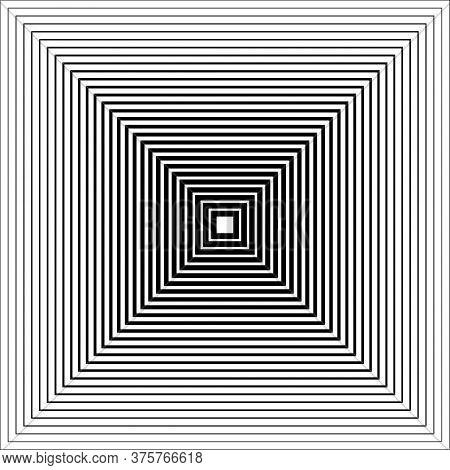 Monochrome Graphic. Vector Op Art. Optical Illusion.