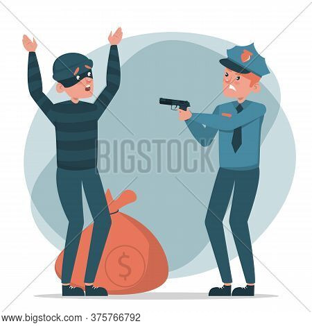 Policeman Caught A Criminal With Money Bag