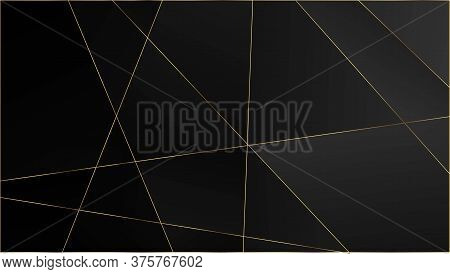 Black Luxury Triangular Pattern. Rich Vip Silver Geometric Celebration Wallpaper. Gold Lines Polygon