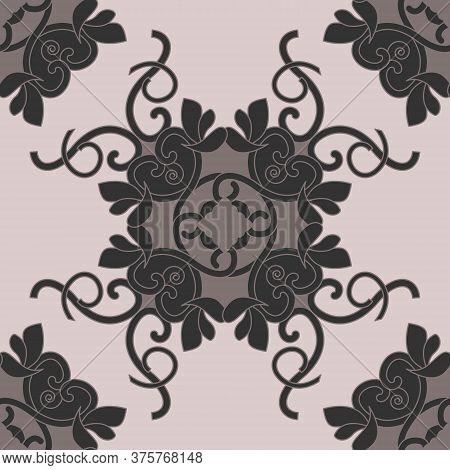 Seamless Pattern With Hearts, Interlaced Spirals And Birds. Romantic. Colors, Pinkish Brown Dark And