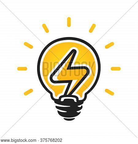Sign Of Electricity In Light Bulb. Energy Vector Logo. Electricity Icon.