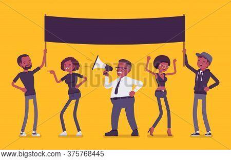 Blm Demonstration Black Lives Matter With Mock Up Poster. Activists Of Political, Social Movement, A