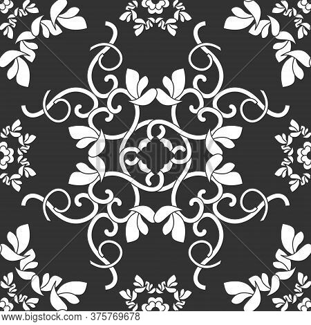 Seamless Pattern With Hearts, Interlaced Spirals And Birds. Romantic. Colors Dark Grey And White. Ve